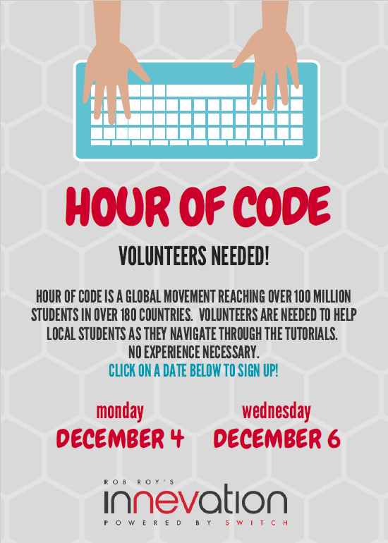 Sign up NOW to be a Volunteer for Hour of Code at Innevation