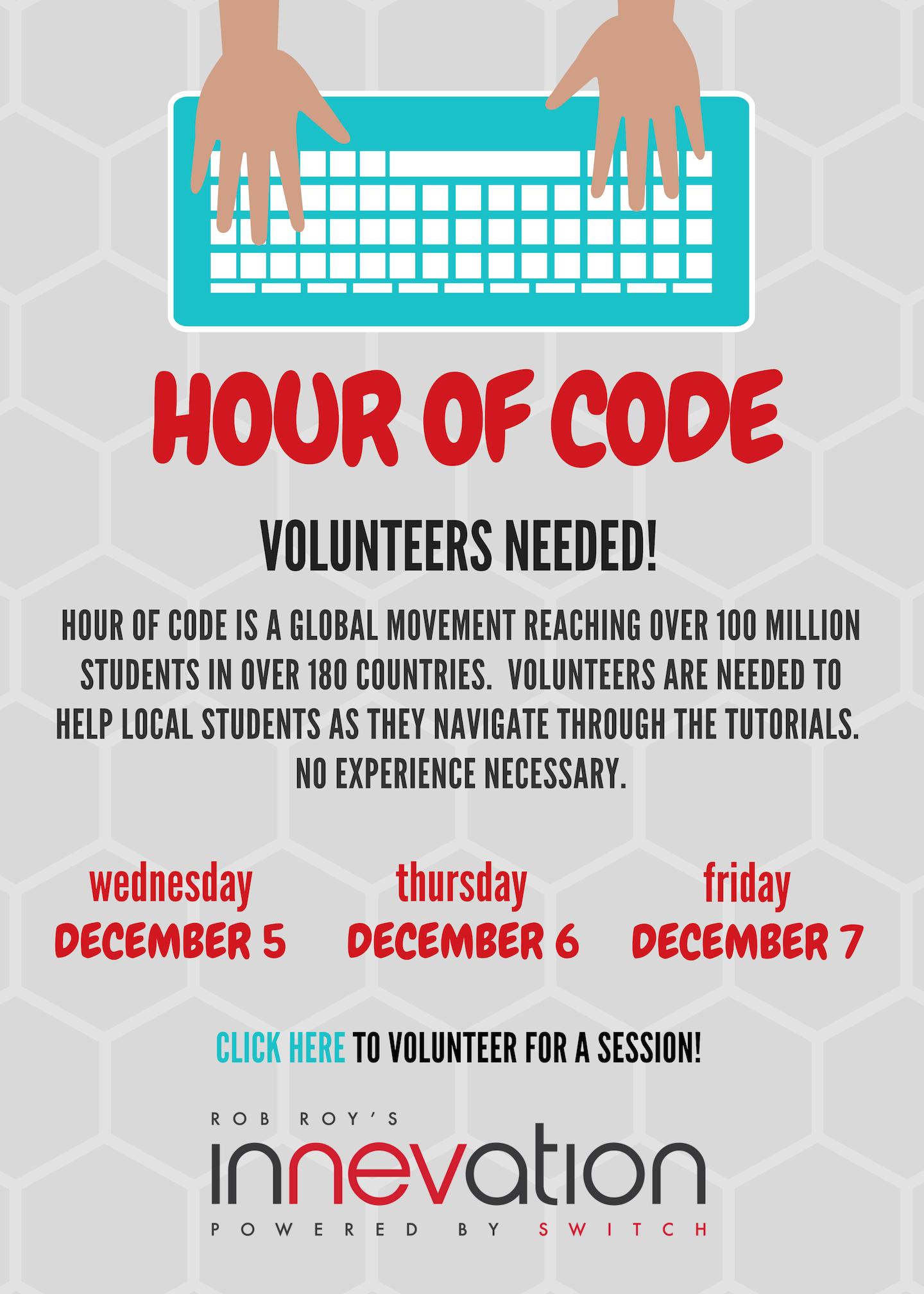 Volunteers Needed for Hour of Code Next Week! - Innevation